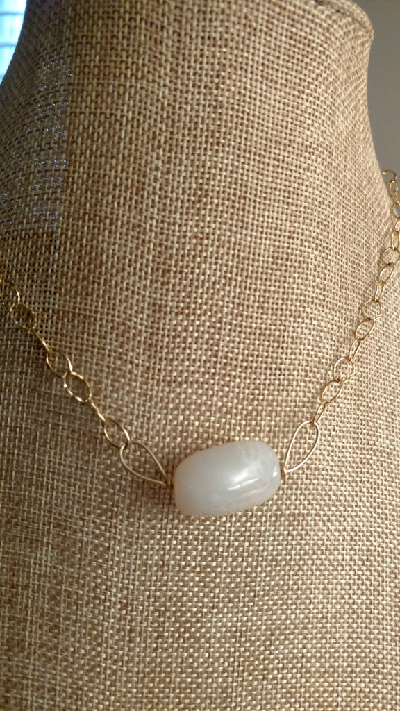 "Honeycombed White Chalcedony ""Wings"" Necklace"
