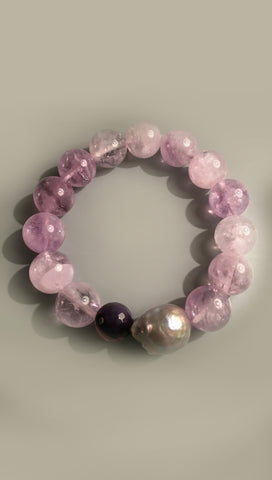 Celestial Amethyst Rutilated Stretch Bracelet with Grey Baroque Pearl