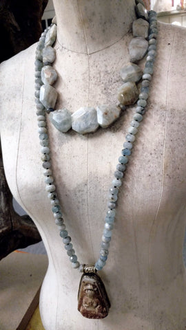 Aquamarine and Labradorite Chunky Necklace - SOLD