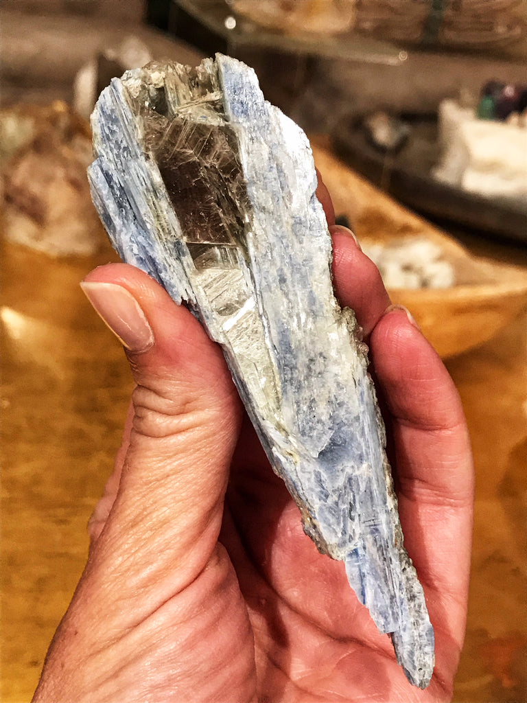 "Blue Kyanite Wand ""Mountain"" on Milky Quartz with Mica and Iron"