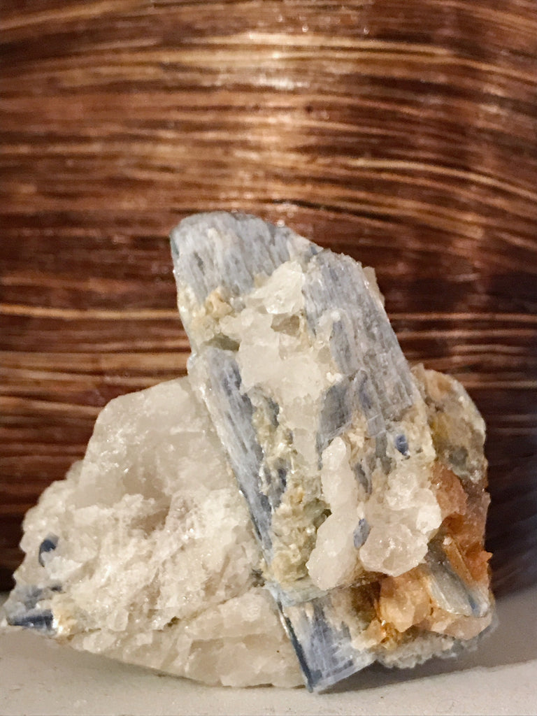 Blue Kyanite on Milky Quartz with Mica and Iron