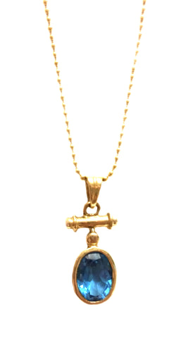 Blue Topaz Nautical Pendant in 14kt Gold (Shown with Chain)