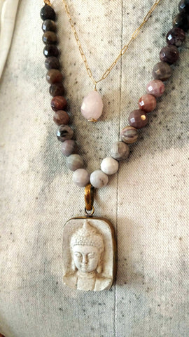 Concrete Buddha and Petrified Wood Faceted Stone Necklace - SOLD