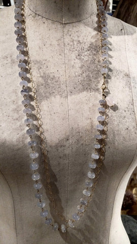 Chalcedony and Gold-filled Chain Hand Wired Necklace