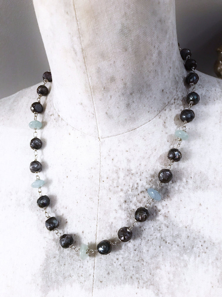 Faceted Chocolate Pearl Necklace with Aquamarine Stones in Silver