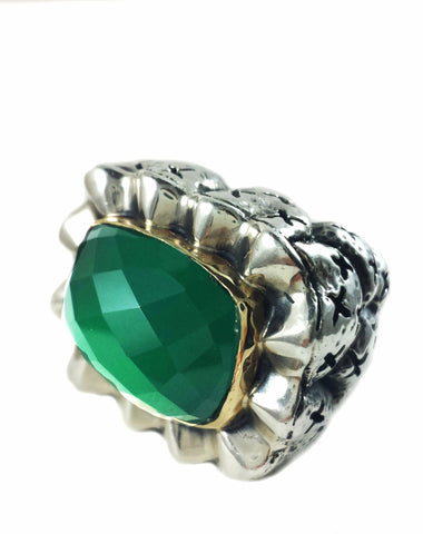 Limited Edition Green Onyx Wave Ring with 14kt Bezel
