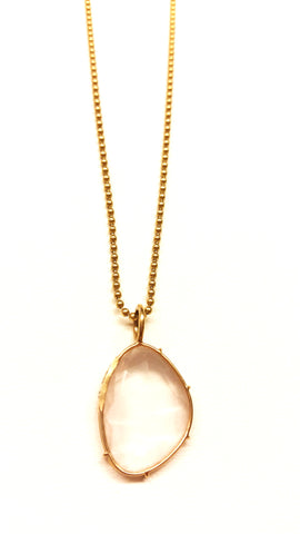 Rose Quartz Harriet Stone in 14kt Yellow Gold with
