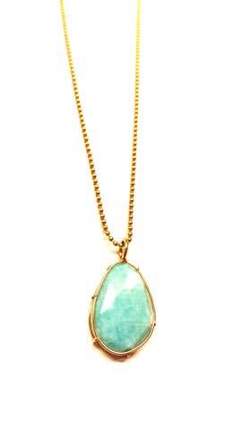 Amazonite Harriet Stone in 14kt Yellow Gold - READY TO SHIP