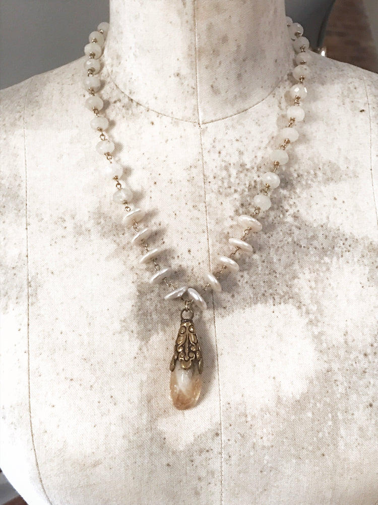 Citrine Pearl & Moonstone Necklace