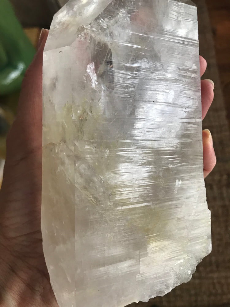Clear Crystal Lemurian Wand (Large) with Yellow Sulfur and White Phantoms