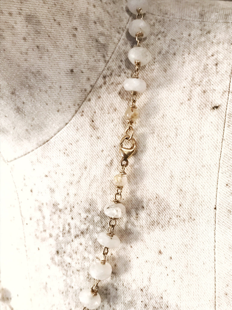Extra Long Cultured Pearl Necklace with Rock Crystal Shards