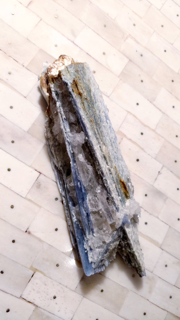 "Blue Kyanite Wand ""Grasshopper"" on Milky Quartz with Mica and Iron"