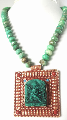 Dancing Shiva Chrysoprase One of a Kind Necklace