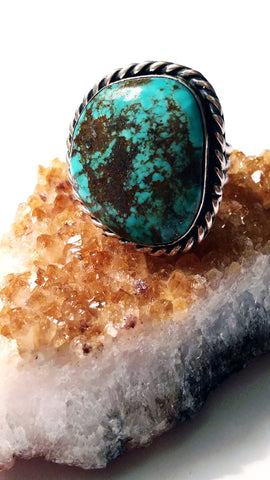 Brown Matrixed American Turquoise Ring with Split Shank Ring