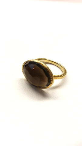 Smoky Quartz Hammered Ring SALE