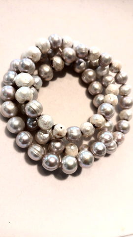 Faceted and Grey Pearl Bracelets - Set of Three