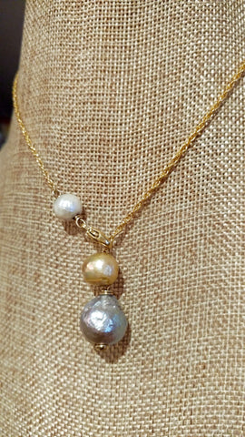Triple Stacked Pearl Lavalier Necklace in Silver Gold & White