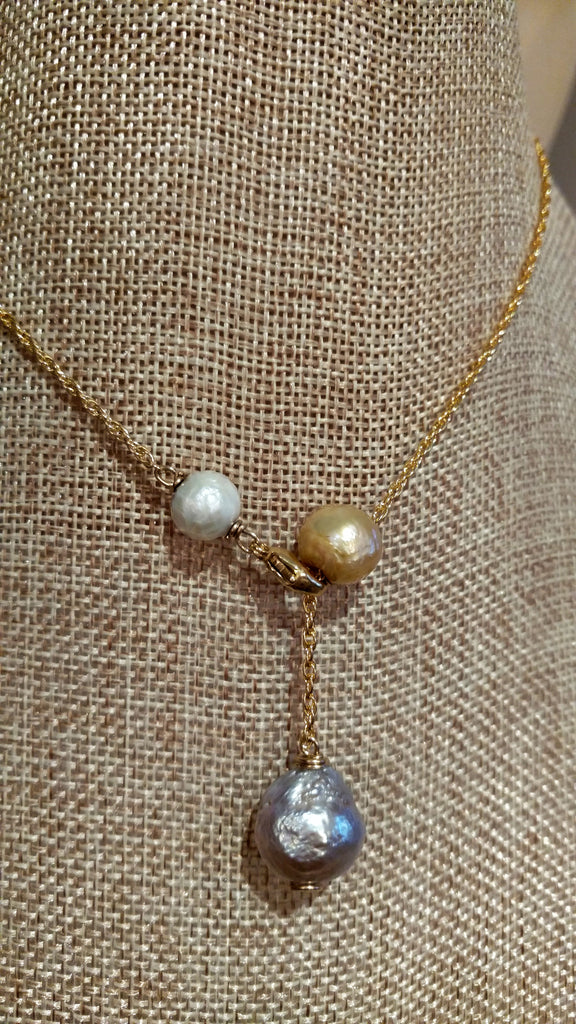 Triple Stacked Pearl Lavalier Y Necklace in Silver, Gold, & White