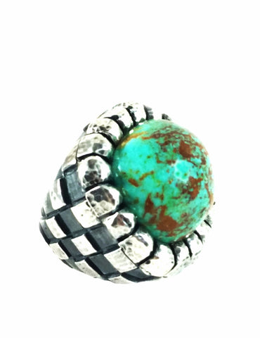 Checkerboard Ring in Mega Turquoise and Sterling Silver