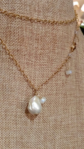 Extra Long Baroque Pearl & Rainbow Moonstone Charms Necklace