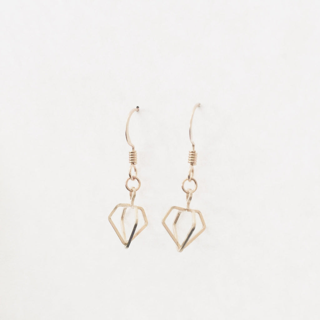 3D Diamond Dangle Earrings
