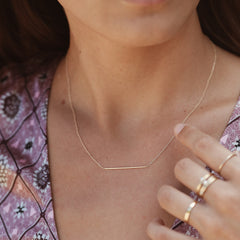 Slim Bar Necklace - Solid 14kt