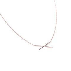 X Pendant Necklace - Solid 14kt