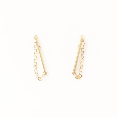 Long Sprinkles Drop Chain Stud Earrings