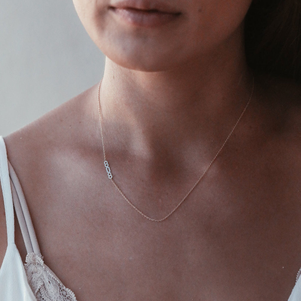 808 Asymmetrical Necklace - Solid 14kt
