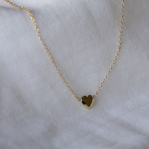 Heart Gem Necklace - Solid 14kt