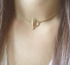 Cubic Toggle Chain Choker Necklace