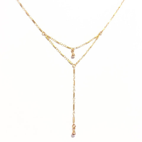 Double Dewdrop Lariat Necklace