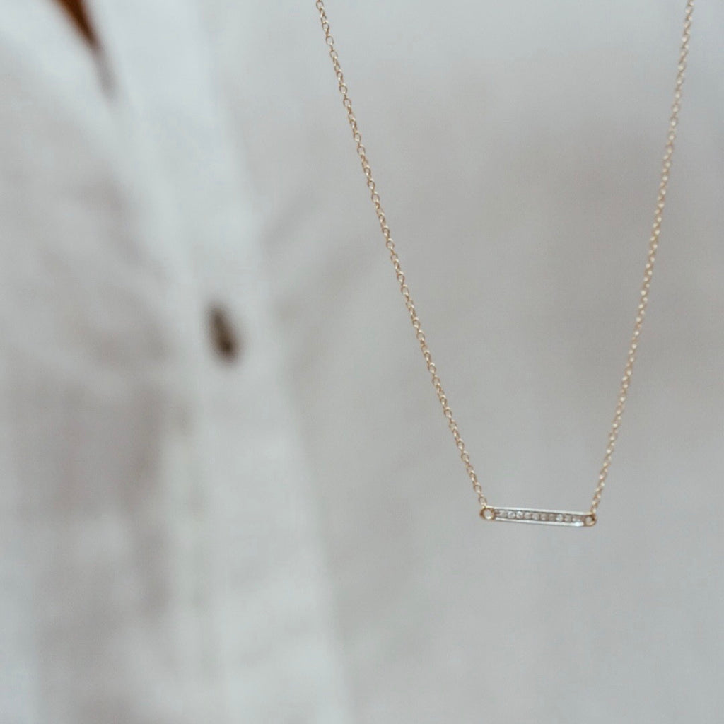 Crossbar Diamond Necklace - Solid 14kt