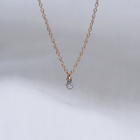 Tiny Solitaire Diamond Pendant Necklace  - Solid 14kt