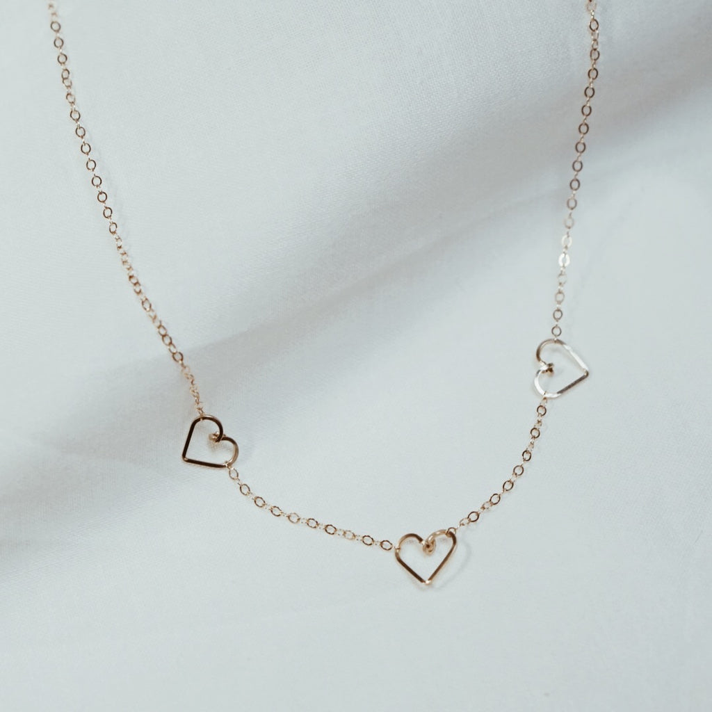 Triple Tiny Heart Necklace