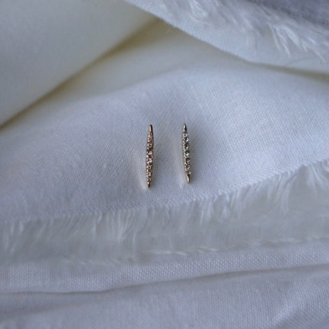 Diamond Spear Stud Earring - Solid 14kt