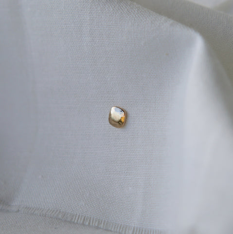 Cushion Gem Stud Earring - Solid 14kt