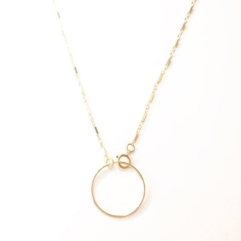 Bar Chain w/ Medium Circle Choker Necklace