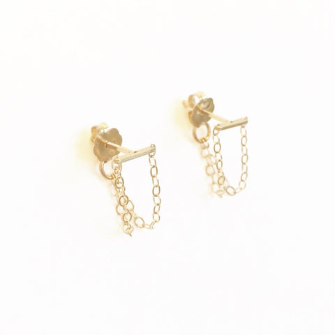 Double Short Sprinkles Chain Loop Stud Earrings