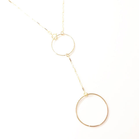 Double Circle Lariat Necklace