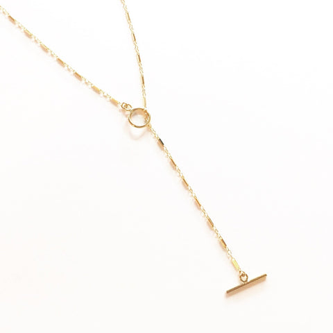 Tiny Toggle Bar Lariat Necklace