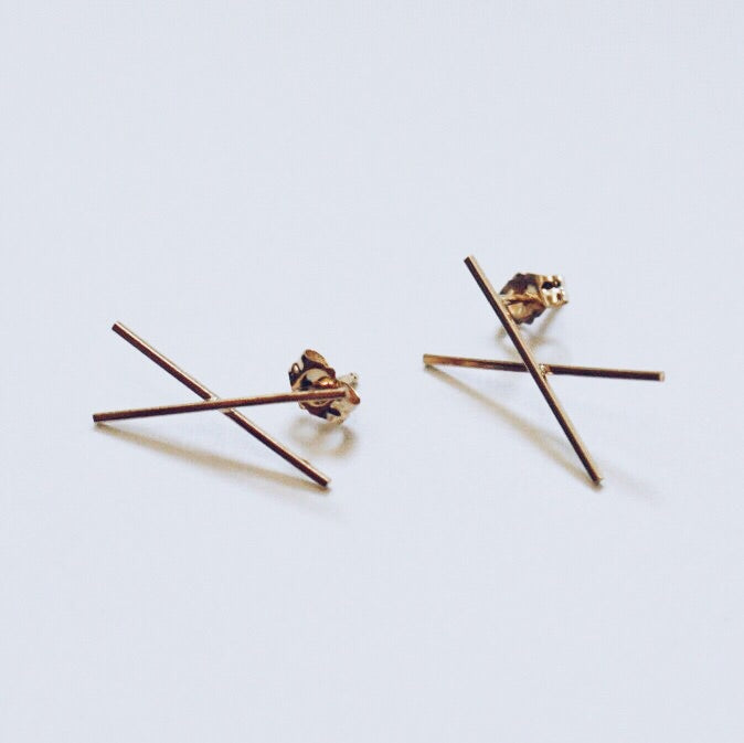 X Stud Earrings - Solid 14kt