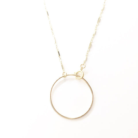 Bar Chain w/ Large Circle Choker Necklace