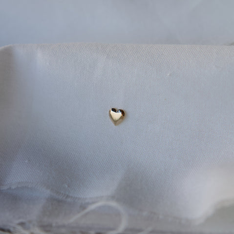Heart Gem Stud Earring - Solid 14kt