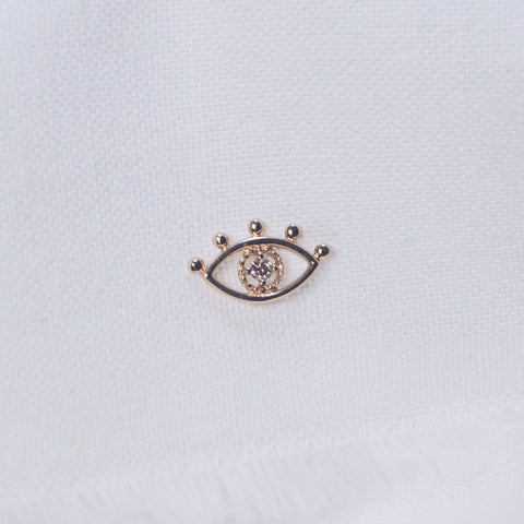 White Diamond Evil Eye Stud Earring - Solid 14kt