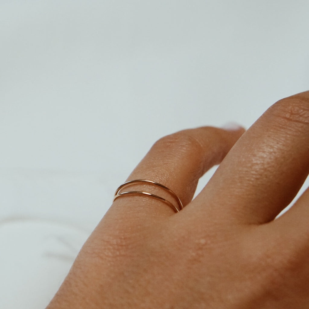 Coupled Thin Band Ring - Solid 14kt