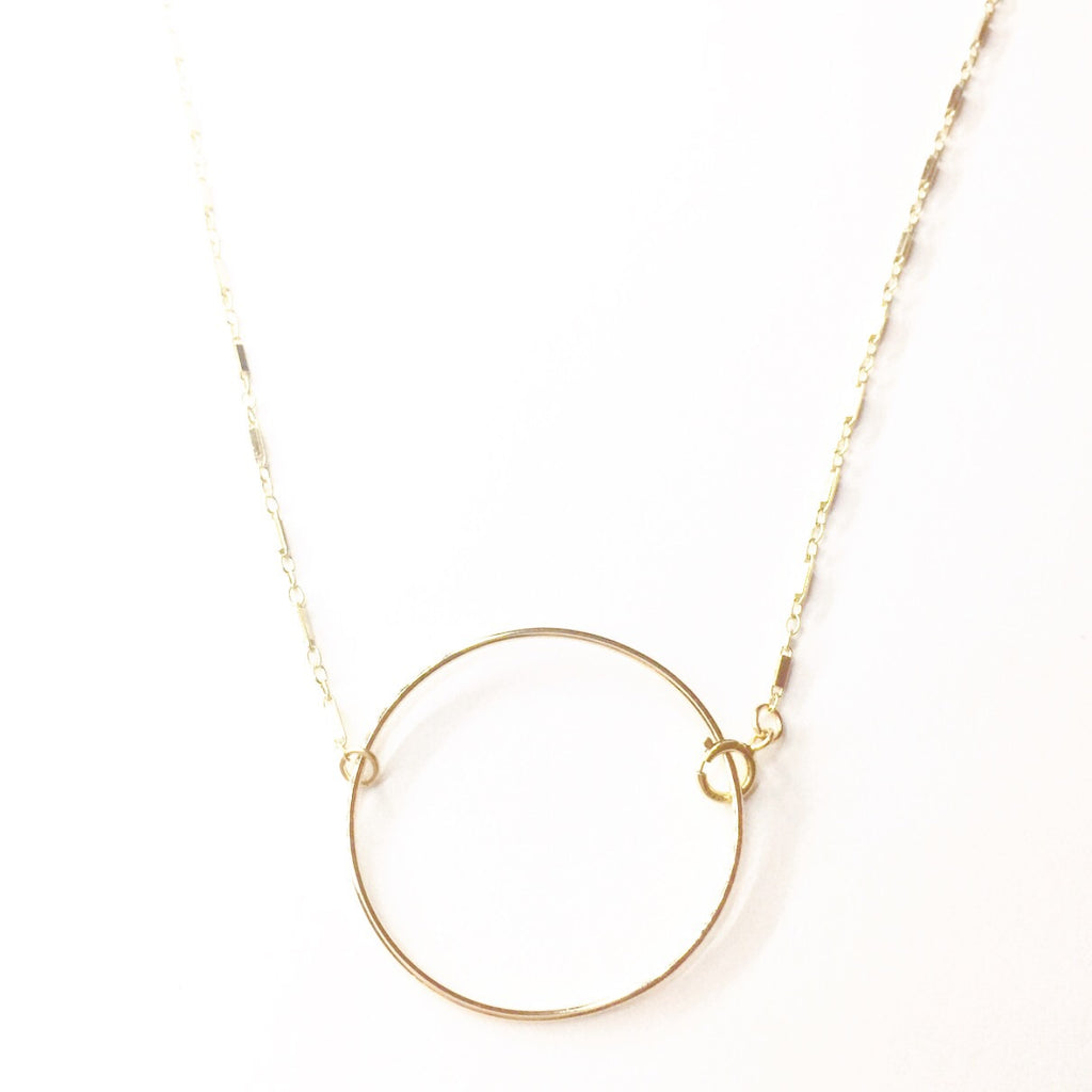 Bar Chain w/ Extra Large Circle Choker Necklace