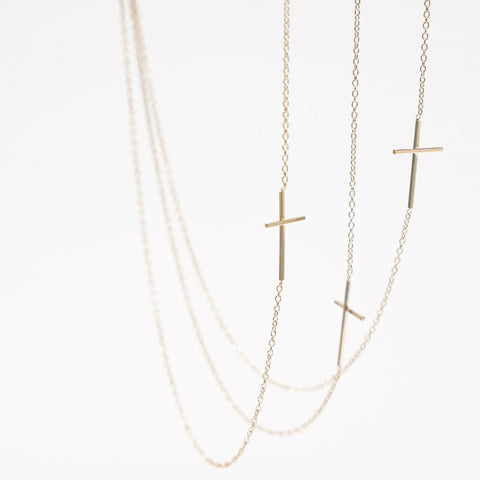Asymmetrical Cross Necklace - Solid 14kt