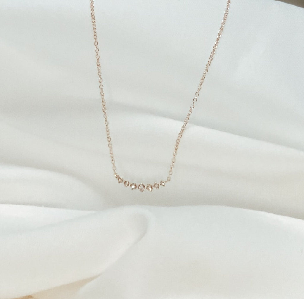 Arch Diamond Necklace - Solid 14kt