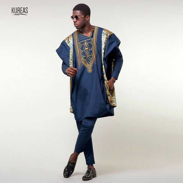 Kureas Agbada African Suits for Men Dashiki Business 3PCS Set Boubou Outfit Africa Clothing Embroidery Formal Attire Clothes